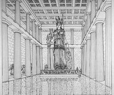 Parthenon, Athens - interior reconstruction drawing - chryselephantine statue by Phidias Greece Architecture, Ancient Greek Architecture, Architecture Drawings, Gothic Architecture, Ancient Rome, Ancient Greece, Temple Drawing, Classical Greece, Egypt