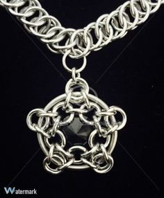 Pentacle Pendant Star Necklace Chainmail by AlyssaDyaneCreations
