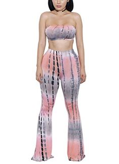 644243bb5ab Amazon.com  Sumtory Women 2 Pcs Tie Dye Printed Strapless Crop Top Flared  Pant Set Romper  Clothing
