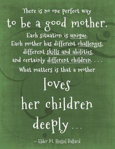 Love this quote. Why do we spend so much time judging one another? Such a good reminder that what matters most is loving your children :)