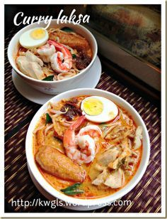 Singapore Curry Laksa -- Another Hawker Centre Noodle Dish–Curry Laksa or Curry Mee (咖喱叻沙, 咖喱面) Asian Noodle Recipes, Spicy Recipes, Indian Food Recipes, Asian Recipes, Soup Recipes, Cooking Recipes, Chinese Recipes, Chinese Food, Malaysian Cuisine