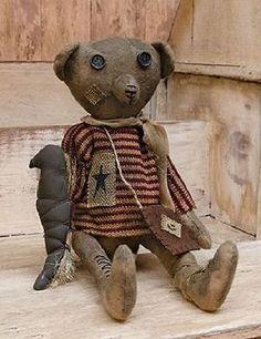 Robert E Bear Primitive Country Patriotic Rag Folk Art Bear