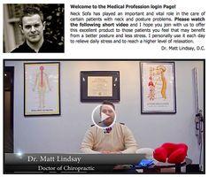 """Dr. Matt Lindsay introducing the Neck Sofa """"Wellness Pillow"""". www.necksofa.com"""