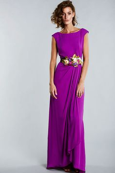 O-neck prom dress cap sleeve evening dress purple long formal dress – Alison Dress Evening Dresses With Sleeves, Evening Gowns, Event Dresses, Formal Dresses, Cap Dress, Purple Dress, Beautiful Dresses, Party Dress, Fashion Dresses