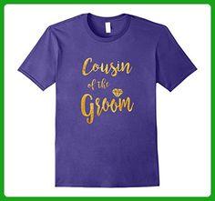 Mens COUSIN OF THE GROOM T Shirt Diamond Gold Medium Purple - Wedding shirts (*Amazon Partner-Link)