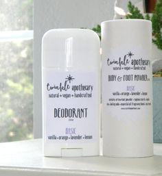 Natural, vegan deodorant and body + foot powder set | BASIC FRAGRANCE | Vanilla Citrus Lavender Fragrance | Twinkle Apothecary