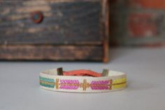 embroidered linen bracelet by newhouseproject on Etsy