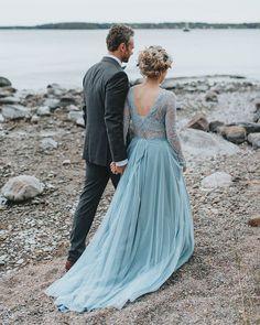 Something Blue: 24 Blue Wedding Dresses For your Happy Wedding ❤ blue wedding dresses a line with long sleeves lace v back snowflake #weddingforward #wedding #bride
