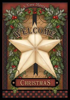 Custom Decor Flag - Welcome Christmas Star Decorative Flag at Garden House Flags