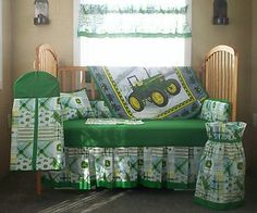 10 PC John Deere Green Plaid Baby Quilt Set Crib Nursery Bedding #3   eBay