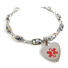 MyIDDr - Pre-Engraved & Customized Diabetic Charm Medical Bracelet, Black/White Millefiori Glass, Red. BLACK EASY TO READ: #1 Recommended black engraving for your life safety with Warranty (see photos). CUSTOM & PRE-ENGRAVED: Customize ID before checkout. Also pre-engraved with DIABETIC. IMPORTANT: Check spelling, phone numbers & grammar when ordering. Cannot be changed or redone. SIZING: Order exact wrist size. See sizing photo. Extra links included, can be resized locally. High quality...