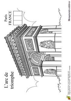 Image de l'Arc de Triomphe, qui se trouve à Paris en France, à colorier.