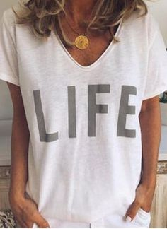 Floryday - Best Deals for Latest Women's Fashion Online Shopping Casual T Shirts, Casual Tops, Casual Wear, Half Sleeves, Types Of Sleeves, Short Sleeve Blouse, Short Sleeves, Long Sleeve, Maxi Robes