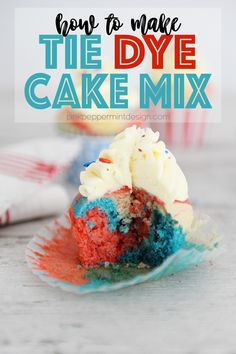 How to make easy tie dye cake mix. These cool cakes aren't complicated but will amaze your guests when you cut into it! Learn what kind of food coloring works best and a few different techniques for getting the look you want with these tie dye cake mix. #cake #recipe #tiedye #dessert #cupcakes #baking #pinkpeppermintdesign