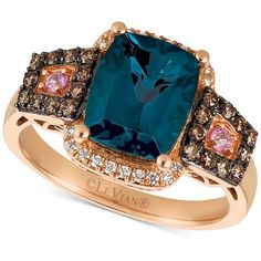 Le Vian Chocolatier Blue Topaz (3 ct. t.w.), Diamond (3/8 ct. t.w.)... ($3,158) ❤ liked on Polyvore featuring jewelry, rings, rose gold, pink sapphire diamond ring, rose gold diamond ring, 14 karat gold ring, le vian rings and cushion cut blue topaz ring