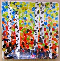 Fingerprint trees, or dot / sponge trees using masking tape Kids Painting Projects, Painting For Kids, Art For Kids, Ceramic Painting, Pottery Painting, Painted Pottery, Classroom Auction Projects, Auction Ideas, Art Auction