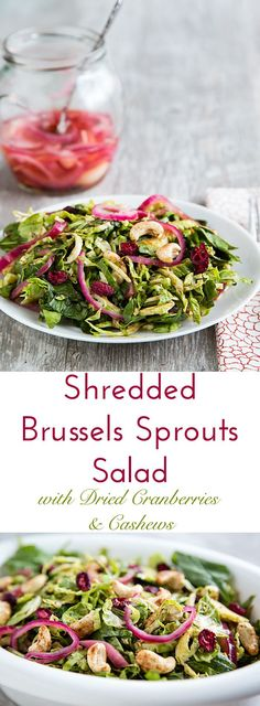 Dried cranberries, spiced cashews, pickled red onion, and a tangy maple-mustard vinaigrette make this oil-free shredded Brussels Sprouts sparkle with flavor. Naturally vegan and gluten-free.