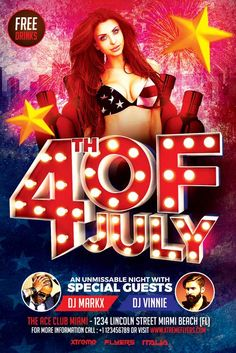 July 4th Flyer Template - http://xtremeflyers.com/july-4th-flyer-template/ July 4th Flyer Template PSD   July 4th Flyer Template PSD designed to advertise a 4th of July Party inside a night club / pub / bar.  The design is well sorted in folders, and all the elements can be removed or rearranged as you please. You don't need a good knowledge of Photoshop to edit #4ThOfJuly, #Flyer, #Poster, #Psd, #Template