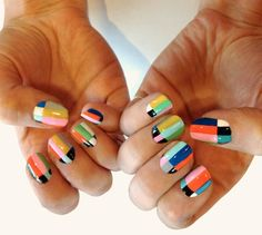 Maybe you have discovered your nails lack of some popular nail art? Sure, recently, many girls personalize their nails with lovely … Get Nails, Love Nails, How To Do Nails, Pretty Nails, Hair And Nails, Color Block Nails, Colour Block, Multicolored Nails, Colorful Nails
