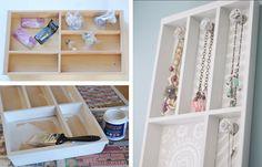 20 Creative DIY Jewelry Organizers   Upcycled Cutlery Tray   DIY Hanging Jewelry Organizer
