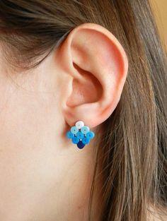 Set of 3 pair stud paper earrings square by VasariahCreations