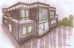 Cette maison est composée de 4 containers HC de 40 pieds. Le rez-de-chaussée est réalisé avec 3 containers de 40 pieds et l'étage est composé d'un container high cube de 40 pieds agrandit de chaque côté par une extension en bois. La terrasse est accessible...