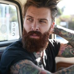 Levi Stocke - full thick dark red beard and mustache beards bearded man men mens style tattoos tattooed ginger auburn redhead handsome #beardsforever