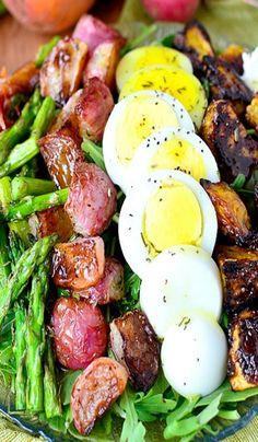 Roasted Spring Vegetable Cobb Salad with Honey Herb Vinaigrette