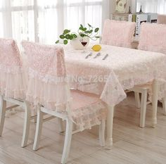 Luxury Cotton Lace Flowers Floral Table Cloth Chair Cushion Cover 9pcs/set  Euro Style Tablecloth