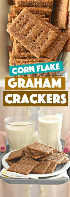 Light, crisp, crunchy, and semi-sweet, these Corn Flake Graham Crackers are the perfect treat for dunking into an ice-cold glass of nondairy milk!
