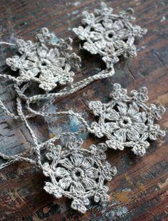 Crochet Garland - Small Doily Bunting -- Snowflake garland - natural linen £17.00