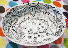 My Masterpiece-Hand Painted Large Serving Dish Bowl in Black by TheWhimsicalWays, $98.00