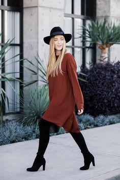 Fall Swing Dress // Orange Dress // Over the Knee Boots // Black hat // bucket bag // eatsleepwear // http://www.eatsleepwear.com/2017/10/23/pumpkin-spice/