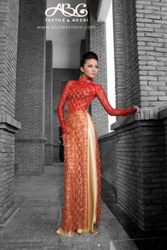 sheer red and gold ao | http://ao-dai-923.blogspot.com  Omg this is amazing! Jn!
