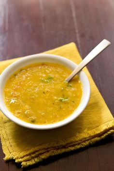 masoor dal recipe.  I don't use any of their measurements, but the ingredients listed work well together.   Use a quality tomato, and cut the onions finely since they don't really cook
