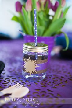 Pretty mason jar drinks at a Tangled Birthday Party!  See more party ideas at CatchMyParty.com!  #partyideas #tangled
