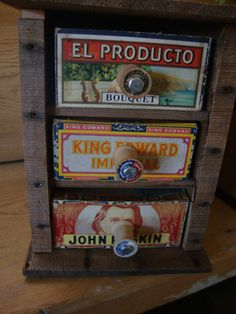 rustic handmade cigar box container drawers with by LathandPlaster, $125.00