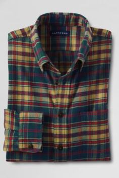 Men's Long Sleeve Tailored Fit Flannel Shirt from Lands' End