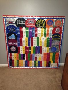 Sports ribbon display board for all of those swim ribbons :)