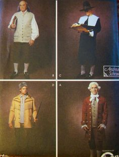 Simplicity Historical Costume Pattern 5958-Men's XS-XL-Factory Folded Unused-Halloween-Pilgrim-B Franklin-D Boone- T Jefferson. $8.00, via Etsy.