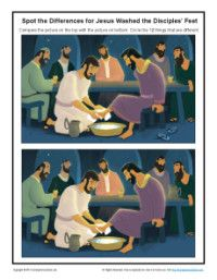 Spot the Differences Bible Activity - Jesus Washed the Disciples' Feet