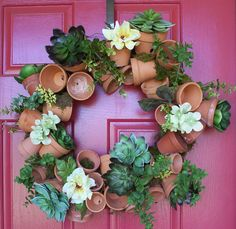 My interpretation of the great flower pot wreath idea...