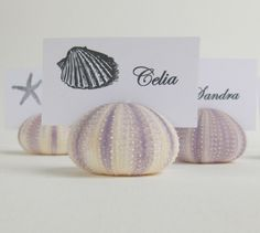 Simple Urchin Place Card Holder - Natural Purple Stripe (10). $27.50, via Etsy.