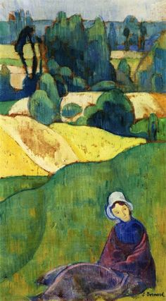 Woman Sitting in a Field Brittany - Painting by Emile Bernard | /1868 - 1941/Oil Painting