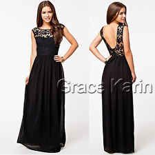 Sexy Bridesmaid Chiffon Lace Long Wedding Cocktail Prom Evening Party Maxi Dress[Black,M]