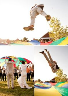 Parachute games and other lawn games at a farm wedding. Wedding Reception Games, Wedding Ideas, Farm Wedding, Wedding Stuff, Wedding App, Wedding Planning, Wedding Receptions, Wedding Trends, Luxury Wedding