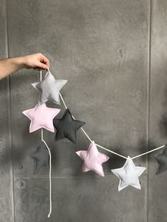 The magical garland for the nursery, is not only very nice as a decoration on the tepee, but also very wonderful on the wall, over the . Sewing For Kids, Baby Sewing, Diy For Kids, Baby Room Decor, Nursery Decor, Felt Crafts, Diy And Crafts, Sewing Projects, Diy Projects