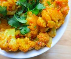 cauliflower coated with indian spices