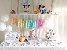 Tsum Tsum Girls Birthday Party.  Cake Table.  Dessert Table.  Rainbow Party.  Kristen Moux Events #kristenmouxevents