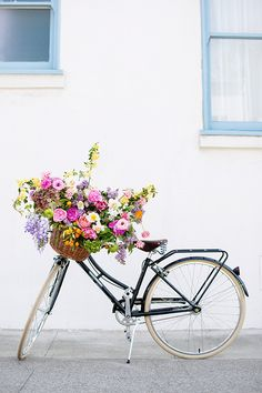 Bike basket full of blooms